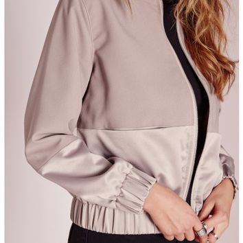 Missguided - Petite Exclusive Satin Two Tone Bomber Jacket Mauve