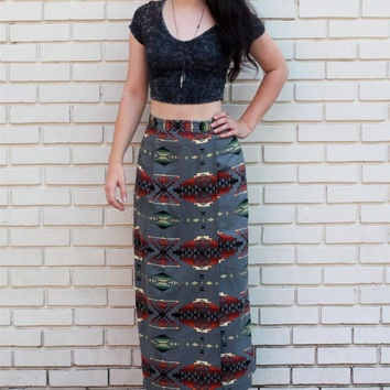Southwestern HighWaisted Maxi Skirt // Native by HawkShopVintage