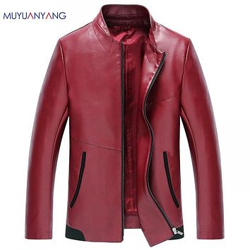 Casual Men's Leather Jacket Stand Collar Leather Jacket Men Faux Leather Coats Jackets