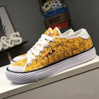 """Fila"" Unisex Fashion Embroidery Letter Cute Cartoon Pikachu Canvas Plate Shoes Couple Casual Sneakers"