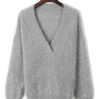 Gray V-neck Fluffy Knitted Sweater