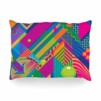 "Roberlan ""The Fountain"" Pink Green Abstract Pop Art Oblong Pillow"