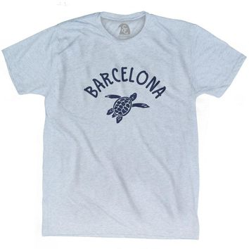 Barcelona Beach Sea Turtle Adult Tri-Blend T-shirt