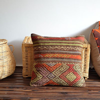 Kilim Pillows - Ethnic Throw Pillow - Striped Chevron Pillow - Vintage Decorative Hand Embroidery Turkish Pillow Cover - Cushion Cover