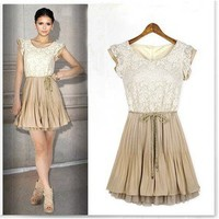 Retro Fashion New Womens Lace Sleeveless Pleated Skirts Vest Dress With belt