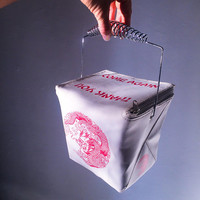 90's Thank you, Come Again Kitsch Chinese Food Take Out Box Purse with Metal Handle