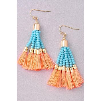 Flaunt it Orange Tassel Earrings