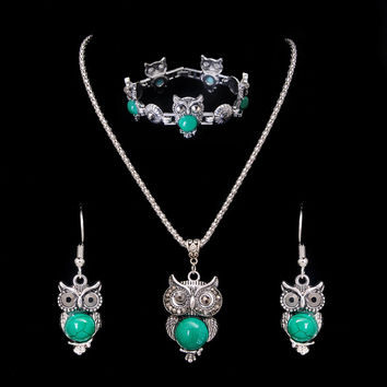 Necklace Set Antique Silver Turquoise Jewelry Green Resin Stone Necklace Earring Bracelets Sets