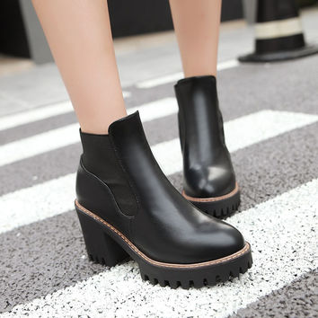 Round Toe Pu Leather High Heels Ankle Boots Thick Heel Women Shoes 76078849