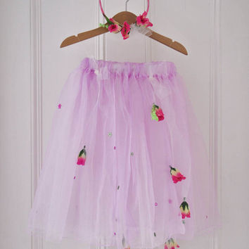 Pink Fairy Skirt and Hairband for Flower Girls, Woodland Wedding, Fairy Costume in Organza & Tulle