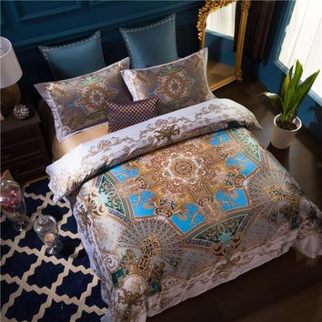 100S Egyptian Cotton Bed cover set Luxury Bohemia Mandala Bedding set Queen King size 4Pcs Duvet cover Bed sheet set Pillowcases