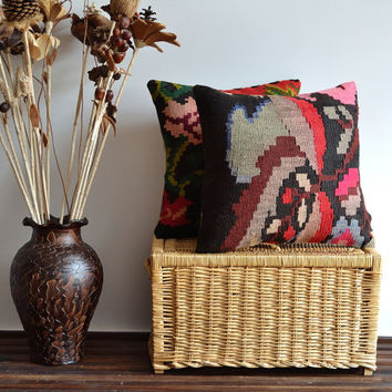 Handwoven Embroidered Bohemain Kilim Pillow Cover - Organic Shine - 16x16 inch - Handmade Pillow.Decorative Throw Pillow