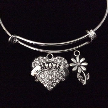Mothers Day Special Daisy Expandable Charm Bracelet Silver Adjustable Bangle Trendy Gift Mom