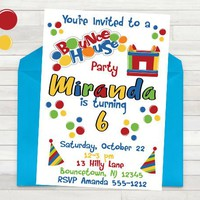 Bounce House Invitation - Bounce Party Invitation - Bounce Party - PRINTABLE - Girls Bounce House Invitation - Boys Bounce House Invitation