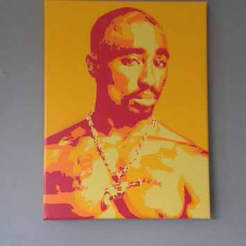 2PAC painting on canvas,stencils,spray paints,hip hop,rap,west coast,los angeles,music,portrait,american,legend,pop art,urban art,tupac