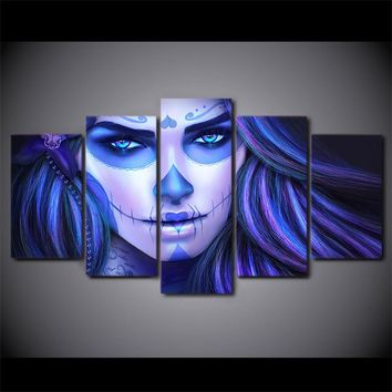 Day of the Dead Face Blue toned wall art - 5 piece