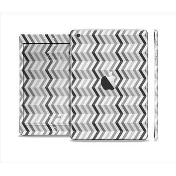 The Black and White Thin Lined ZigZag Pattern Skin Set for the Apple iPad Mini 4