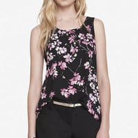 CHERRY BLOSSOM PRINT SPLIT BACK TANK from EXPRESS