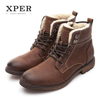 Men Shoes Autumn Winter Men Boots Fashion Vintage Style Male Motorcycle Shoes High-Cut Men Casual Shoes