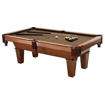 7-Ft Brown Wool Cloth Top Pool Table with 2 Cues & Billiards Balls