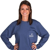 Heraldry Long Sleeve Pocket Tee in Navy by High Cotton