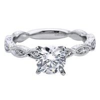 1/2cttw Victorian Style Diamond Engagement Ring With Marquise Shaped Stations
