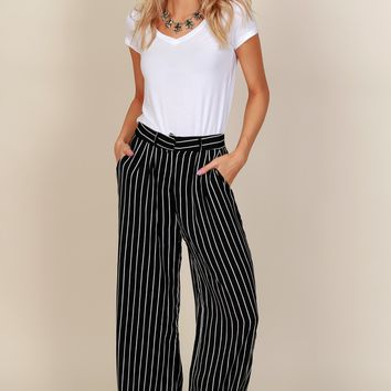 Pin Me Down Striped Pants Black/White