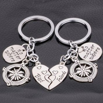 Frienship BFF Key Chain Jewelry 2PC No Matter Where Heart Best Friend Keychain Compass Charms Key Ring Gifts Women Men Keyring