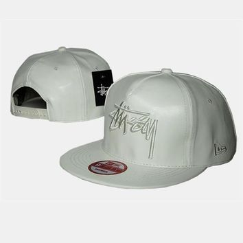 cc auguau Stussy Stock New Era Faux Leather White Hat