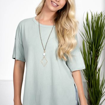 Mint Slit Cotton Top