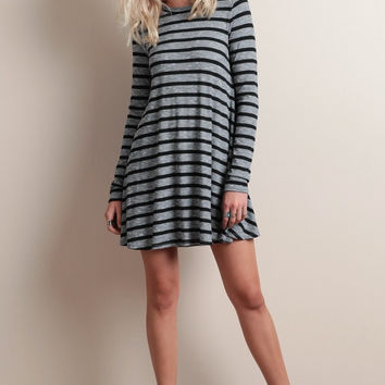 Stripe Long Sleeve Shirt Dress
