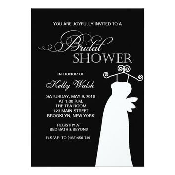 Trendy Wedding Dress Bridal Shower Invitation