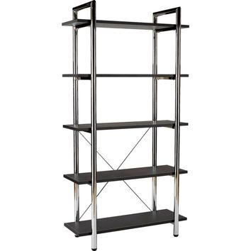 Laurence 5 Shelf Leather Bookcase Brown & Chrome