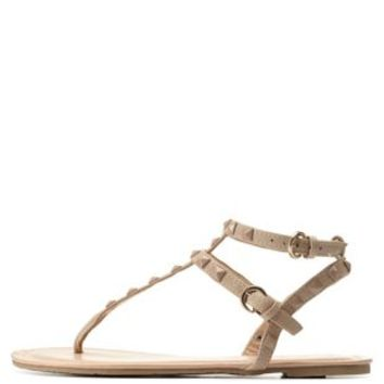 Nude Studded T-Strap Gladiator Thong Sandals by Charlotte Russe