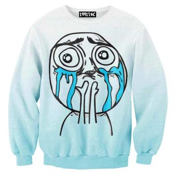 I Love My Followers Tumblr Meme Troll Face Print Crew Neck Pullover Sweater in Blue | DOTOLY