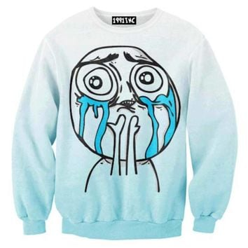 a3a000288d I Love My Followers Tumblr Meme Troll Face Print Crew Neck Pullover Sweater  in Blue