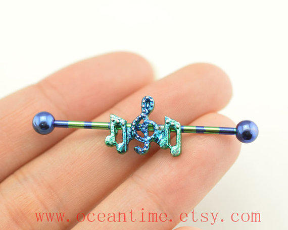 Music Note Industrial Barbell From Oceantime On Etsy
