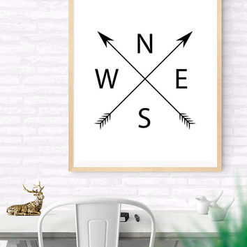 Compass Printable, Arrows Art Print, North East South West, Black and White Decor, Compass Cardinal Print, Home word art, Black Wall Print