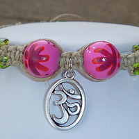 Cute Ohm  Hemp Anklet  with Recycled Painted Flower Beads  handmade jewelry  hippie