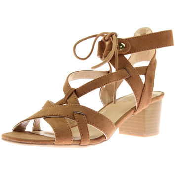Qupid Womens Kelley Faux Suede Strappy Dress Sandals