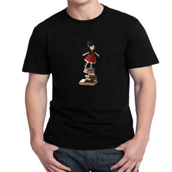 Gorjuss on Books Mens T-shirt Black and White