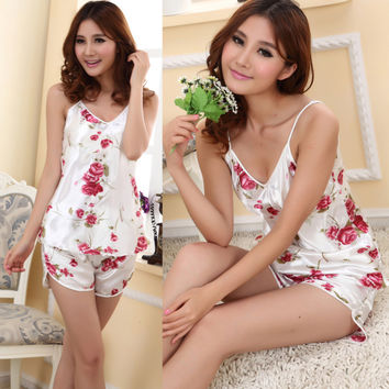 Fashion Womens Sexy Pajamas Set Blouse Shirt + Shorts Underwear Sleepwear 2 Pcs