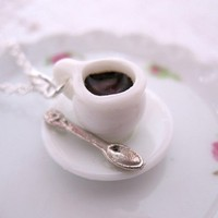 Black Coffee For Me Please Necklace by CuteAbility on Etsy