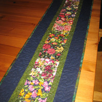 Quilted Table Runner, Summer Flowers
