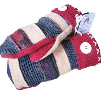 Sweaty Mitts - DESIGNER Upcycled Wool Sweater Mittens Women's Recycled Handmade Wisconsin - Patchwork Hippie Tan Red Beige Stripes