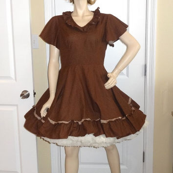1970s Vintage Home Sewn Square Dance Dress in Brown Tiny Polka Dot, Size 12-14, Cap Sleeve, Ruffle Neck, Vintage Square Dance Costume Dress