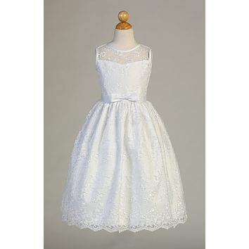 Embroidered Tulle Communion Dress with Satin Trim - SP157