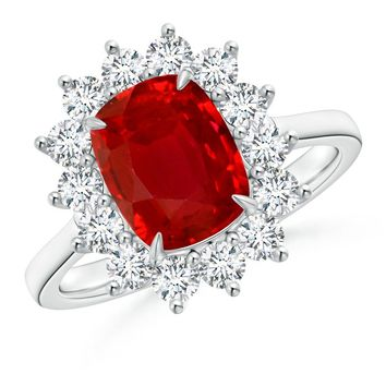Floral Diamond Halo Cushion Ruby Claw Ring