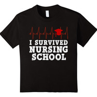 Funny Nurse Shirt I Survived Nursing School Graduation RN