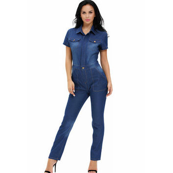 Women Jeans Short Sleeve Button Business Casual Suit Trousers Pants _ 12590